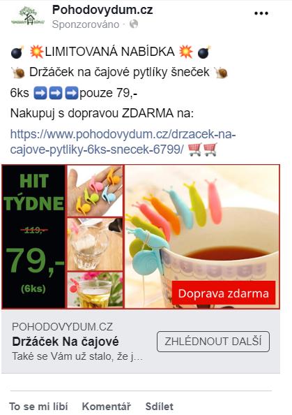 Ukázka Facebook reklamy