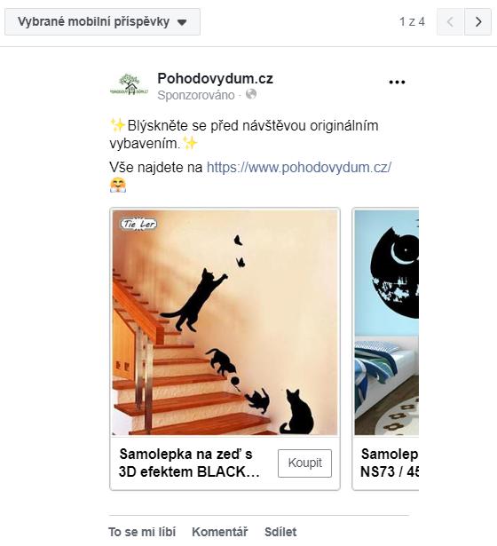 Pohodový dům - reklama na Facebooku