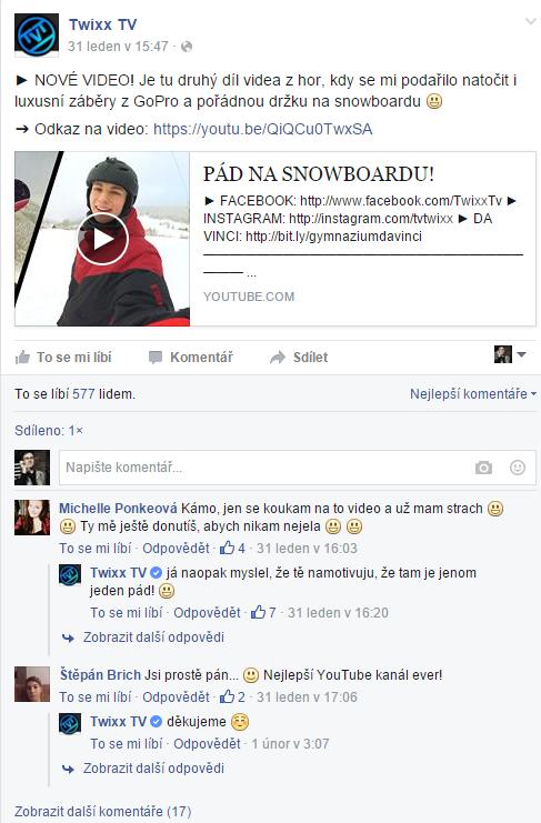 Ukázka Facebook postů