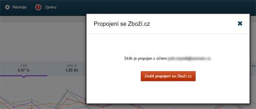 Nastavení probíhá propojením vašeho profilu na Zboží.cz a Sklik.cz.