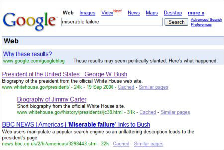 George Bush Google Bombing